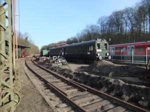 Gleis 12 mit neuen Schwellen und Schienen