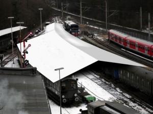 Fotomontage mit Dach über Gleis 10 bis 12