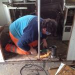 Abbau der Halterung des Lokführersitzes