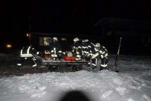 Transport einer verletzten Person mittels einer Bahnmeisterlore